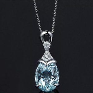 *925 Sterling Silver Aquamarine Diamond Necklace